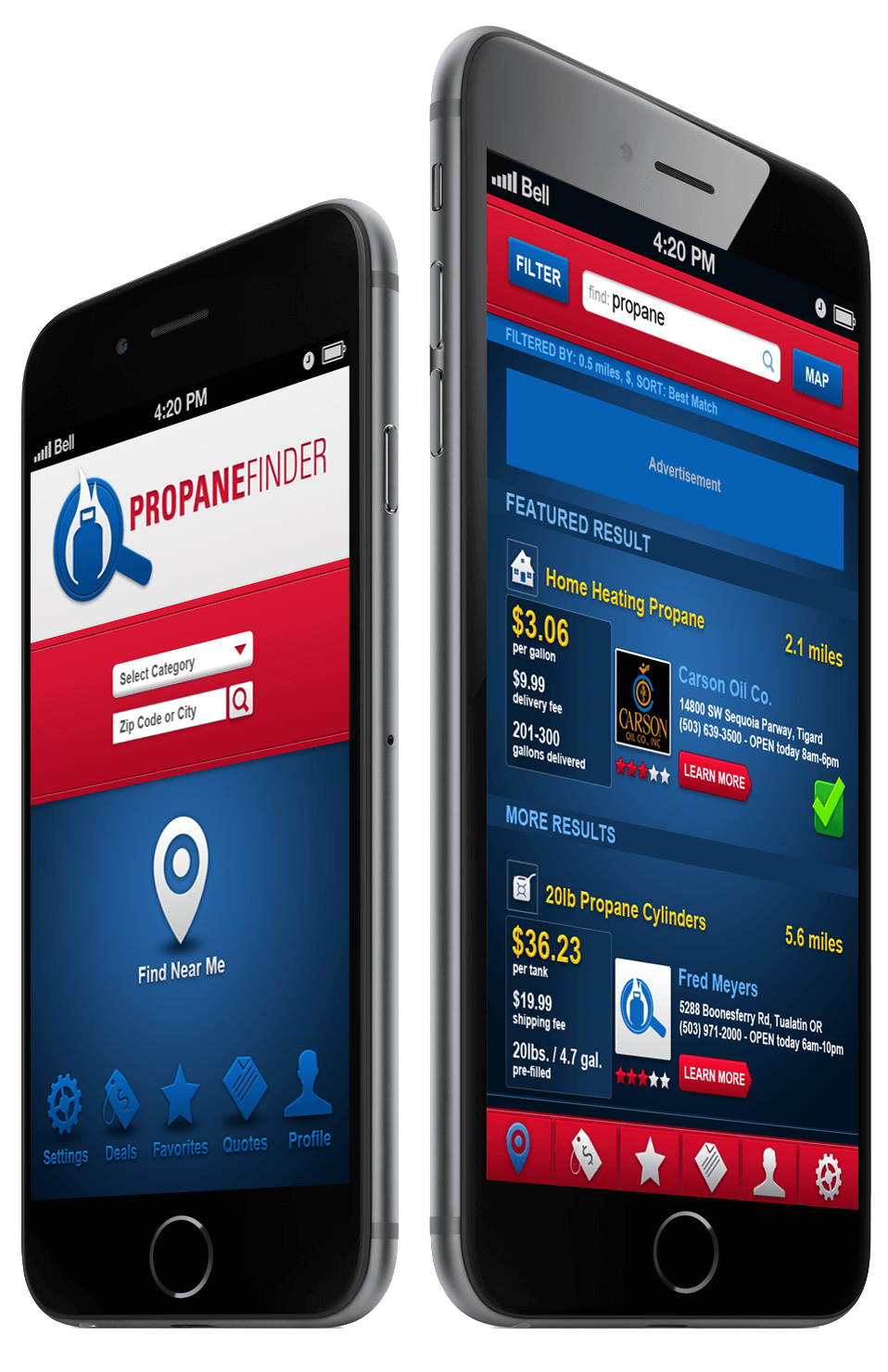 Mobile App Portfolio: Propane-Finder iOS & Android app